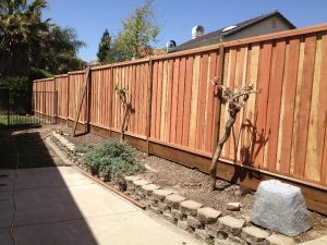 6. 1X6X6 REDWOOD PICTURE FRAME FENCE WITH KICK BOARD